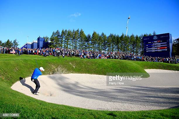 Sergio Garcia of Europe chips in from a bunker on the 4th hole during the Morning Fourballs of the 2014 Ryder Cup on the PGA Centenary course at the...