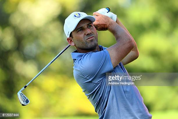 Sergio Garcia of Europe hits off the fourth tee during singles matches of the 2016 Ryder Cup at Hazeltine National Golf Club on October 2 2016 in...