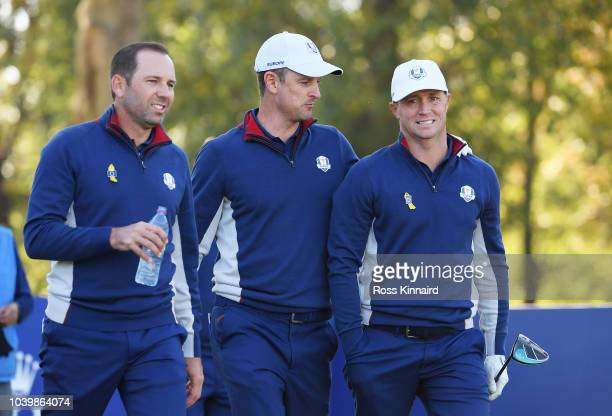Sergio Garcia of Europe Justin Rose of Europe and Alex Noren of Europe look on during practice ahead of the 2018 Ryder Cup at Le Golf National on...