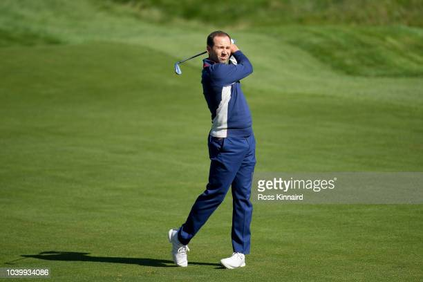 Sergio Garcia of Europe plays a shot on the 17th hole during practice ahead of the 2018 Ryder Cup at Le Golf National on September 25 2018 in Paris...