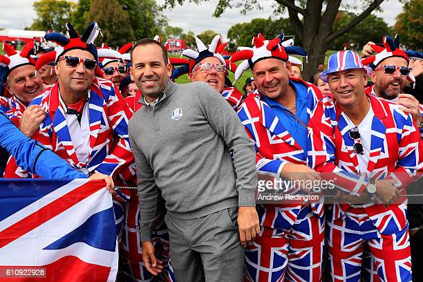 Sergio Garcia of Europe poses with fans during practice prior to the 2016 Ryder Cup at Hazeltine National Golf Club on September 28 2016 in Chaska...
