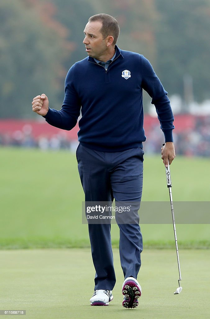 Sergio Garcia of Europe reacts after a putt on the ninth green during morning foursome matches of the 2016 Ryder Cup at Hazeltine National Golf Club on September 30, 2016 in Chaska, Minnesota.