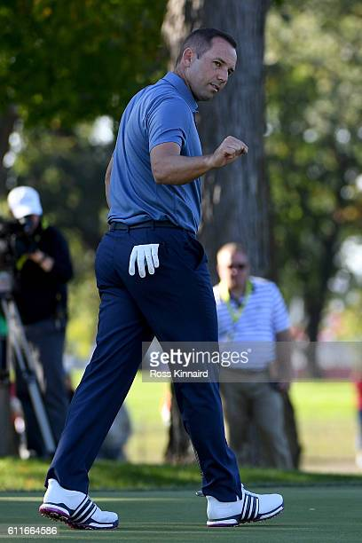 Sergio Garcia of Europe reacts on the 12th green during afternoon fourball matches of the 2016 Ryder Cup at Hazeltine National Golf Club on September...