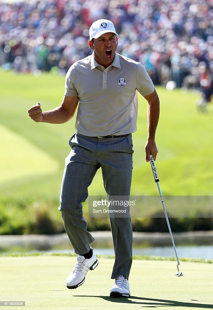 Sergio Garcia of Europe reacts to a putt on the 16th green during morning foursome matches of the 2016 Ryder Cup at Hazeltine National Golf Club on October 1, 2016 in Chaska, Minnesota.