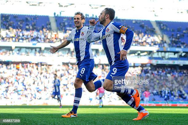Sergio Garcia of RCD Espanyol celebrates after scoring the opening goal from the penalty spot during the La Liga match between RCD Espanyol and Real...