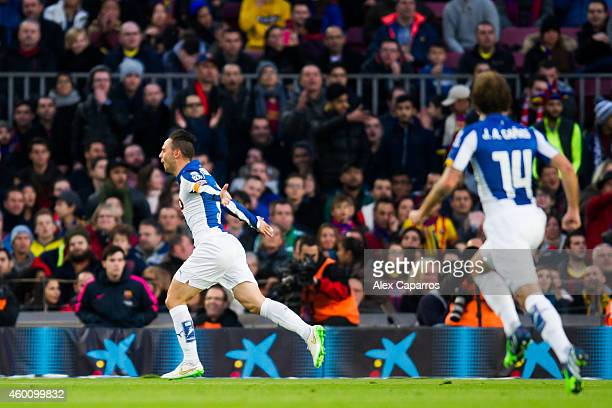 Sergio Garcia of RCD Espanyol celebrates after scoring the opening goal during the La Liga match between FC Barcelona and RCD Espanyol at Camp Nou on...