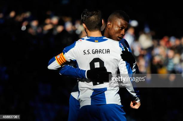 Sergio Garcia of RCD Espanyol celebrates with his teammate Jhon Cordoba after scoring the opening goal from the penalty spot during the La Liga match...
