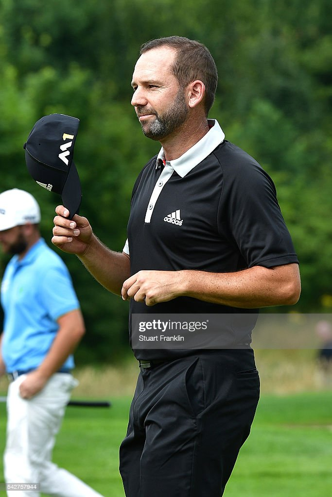 Sergio Garcia of Spain acknowledges the crowd after his hole in one on the 11th hole during the second round of the BMW International Open at Gut Larchenhof on June 24, 2016 in Cologne, Germany.