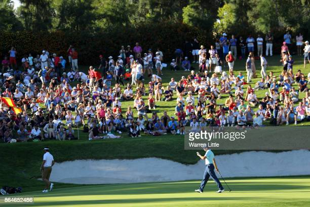 Sergio Garcia of Spain acknowledges the crowd on the 17th hole during day three of the Andalucia Valderrama Masters at Real Club Valderrama on...