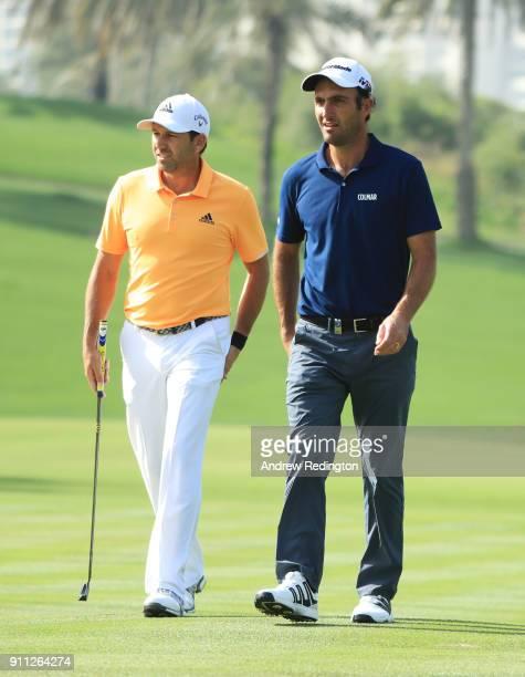 Sergio Garcia of Spain adn Edoardo Molinari of Italy walk on the on the 2nd hole during the final round on day four of the Omega Dubai Desert Classic...