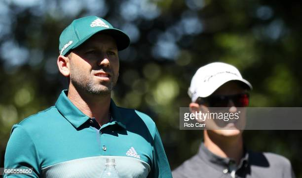 Sergio Garcia of Spain and Justin Rose of England walk off the second tee during the final round of the 2017 Masters Tournament at Augusta National...