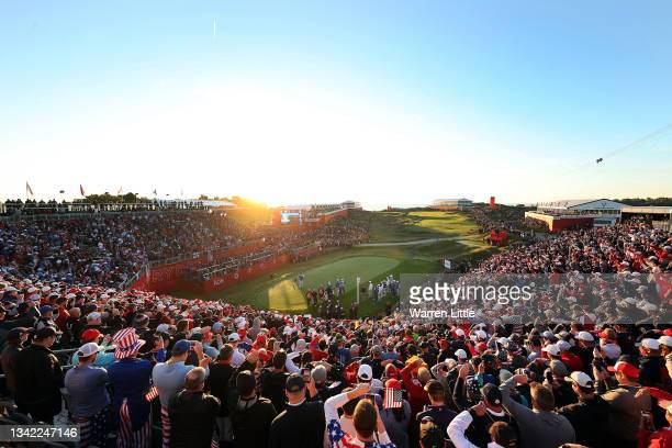 Sergio Garcia of Spain and team Europe plays his shot from the first tee during Friday Morning Foursome Matches of the 43rd Ryder Cup at Whistling...