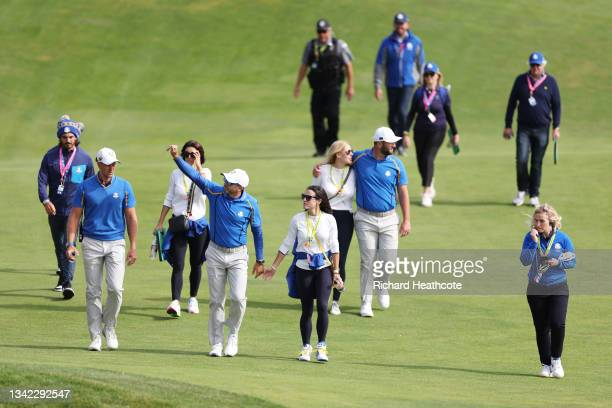 Sergio Garcia of Spain and team Europe waves to the crowd during Friday Morning Foursome Matches of the 43rd Ryder Cup at Whistling Straits on...