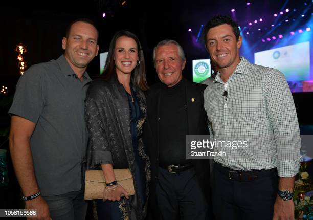 Sergio Garcia of Spain Angela Akins Gary Player of South Africa and Rory McIlroy of Northern Ireland pose for a picture at the gala dinner prior to...