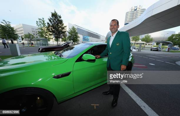 Sergio Garcia of Spain arrives in his Green Jacket as he shows off his chipping skills at the proam prize giving at BMW Welt ahead of the BMW...
