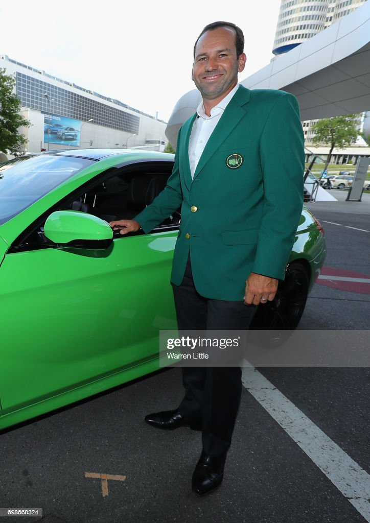 Sergio Garcia of Spain arrives in his green jacket as he shows off his chipping skills at the pro-am prize giving at BMW Welt ahead of the BMW International Open played at Golfclub Munchen Eichenried on June 20, 2017 in Munich, Germany.