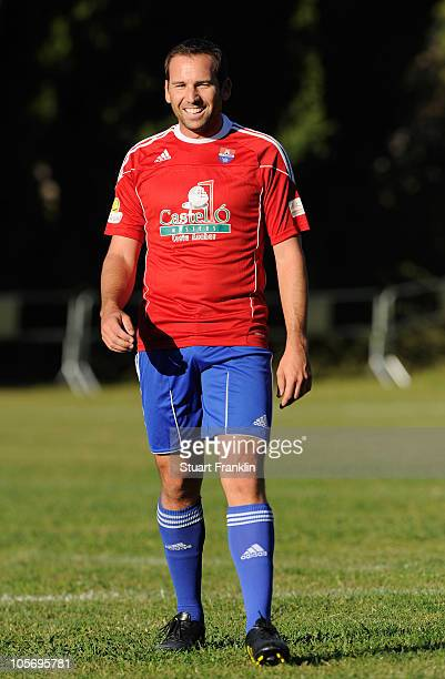 Sergio Garcia of Spain as he takes part in a charity football match between players and caddies of the european tour and the team of Borriol to which...
