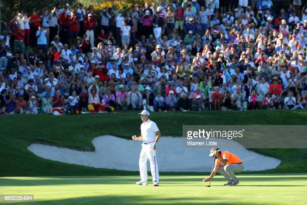 Sergio Garcia of Spain celebrates a birdie on the 17th green during the final round of of the Andalucia Valderrama Masters at Real Club Valderrama on...