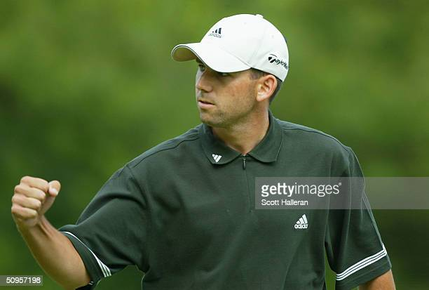 Sergio Garcia of Spain celebrates a birdie on the on the 16th hole during the final round of the Buick Classic at the Westchester Country Club on...