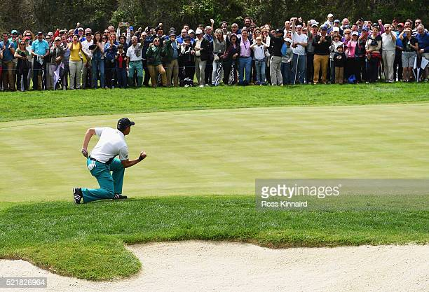 Sergio Garcia of Spain celebrates a birdie putt on the 16th green during the final round on day four of the Open de Espana at Real Club Valderrama on...