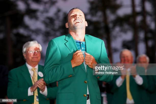 Sergio Garcia of Spain celebrates after being awarded with a Green Jacket after he won in a playoff during the final round of the 2017 Masters...