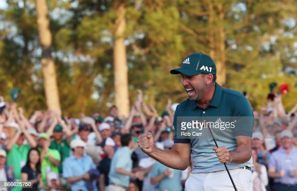 Sergio Garcia of Spain celebrates after defeating Justin Rose of England on the first playoff hole during the final round of the 2017 Masters...