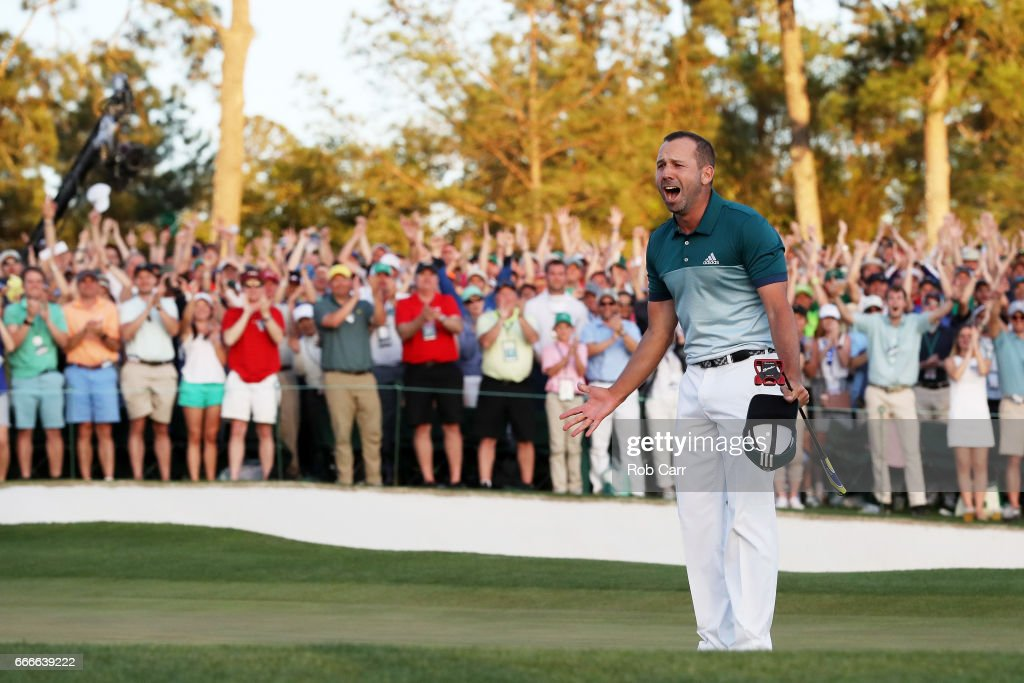 Sergio Garcia of Spain celebrates after defeating Justin Rose (not pictured) of England on the first playoff hole during the final round of the 2017 Masters Tournament at Augusta National Golf Club on April 9, 2017 in Augusta, Georgia.