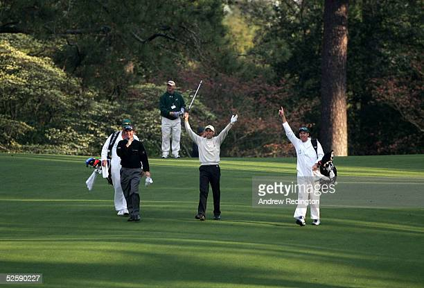 Sergio Garcia of Spain celebrates after holing out for double eagle during practice for The Masters at the Augusta National Golf Club on April 5 2005...