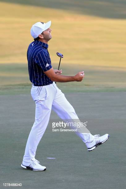 Sergio Garcia of Spain celebrates after making birdie on the 18th green during the final round to win the Sanderson Farms Championship at The Country...