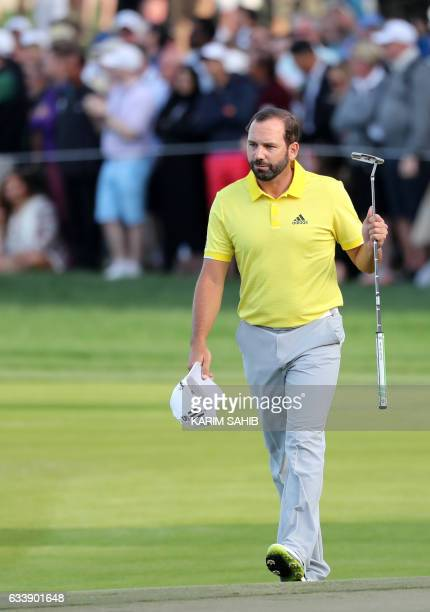 Sergio Garcia of Spain celebrates after winning the final round of the Omega Dubai Desert Classic at the Emirates Golf Club on February 5 2017 in...