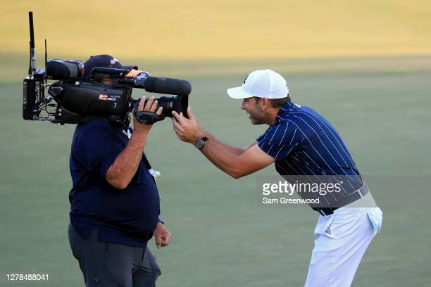 Sergio Garcia of Spain celebrates after winning the Sanderson Farms Championship at The Country Club of Jackson on October 04, 2020 in Jackson,...