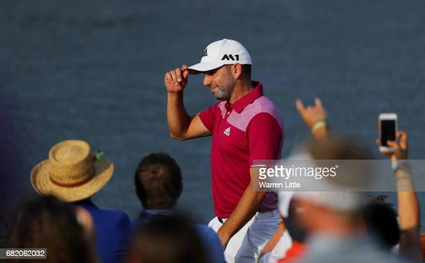 Sergio Garcia of Spain celebrates his hole in one on the 17th during the first round of THE PLAYERS Championship at the Stadium course at TPC...