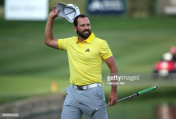 Sergio Garcia of Spain celebrates his victory on the 18th green during the final round of the Omega Dubai Desert Classic at Emirates Golf Club on...