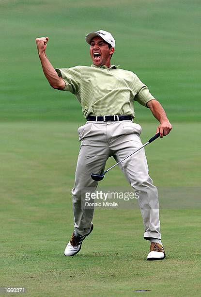 Sergio Garcia of Spain celebrates sinking a birdie put on the 18th hole to send the Mercedes Championships into a playoff which he won at the...