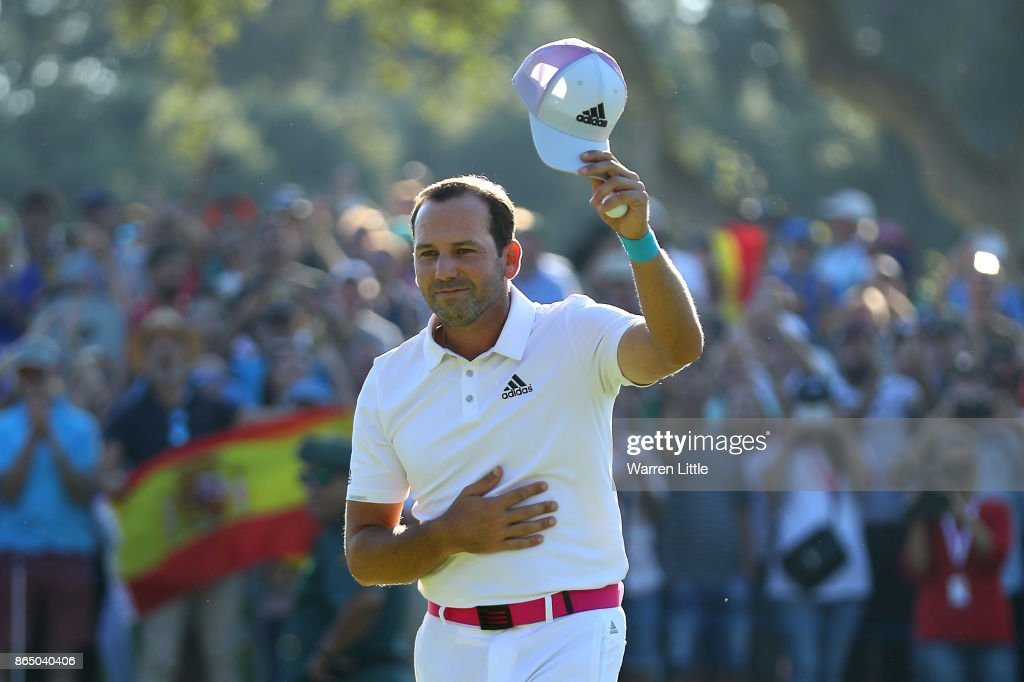 Sergio Garcia of Spain celebrates victory on the 18th green during the final round of of the Andalucia Valderrama Masters at Real Club Valderrama on October 22, 2017 in Cadiz, Spain.