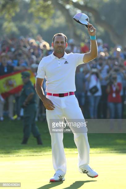 Sergio Garcia of Spain celebrates victory on the 18th green during the final round of of the Andalucia Valderrama Masters at Real Club Valderrama on...