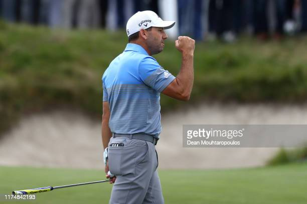 Sergio Garcia of Spain celebrates victory on the eighteenth green during Day Four of the KLM Open at The International Golf Course on September 15,...