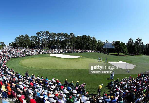 Sergio Garcia of Spain chips onto the green on the 18th hole during the second round of the 2012 Masters Tournament at Augusta National Golf Club on...