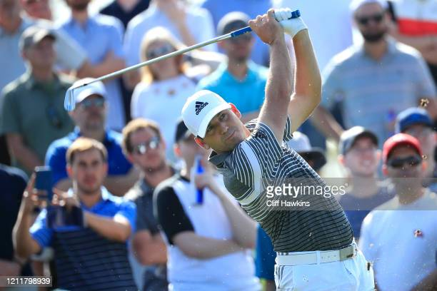 Sergio Garcia of Spain hits a his tee shot during a practice round prior to The PLAYERS Championship on The Stadium Course at TPC Sawgrass on March...
