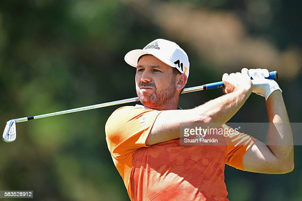 Sergio Garcia of Spain hits a shot during a practice round prior to the 2016 PGA Championship at Baltusrol Golf Club on July 26 2016 in Springfield...