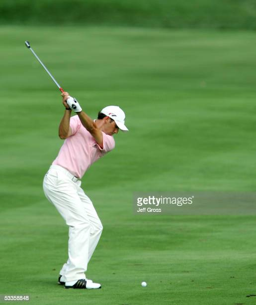 Sergio Garcia of Spain hits a shot during the first round of the 2005 PGA Championship at Baltusrol Golf Club on August 11, 2005 in Springfield, New...