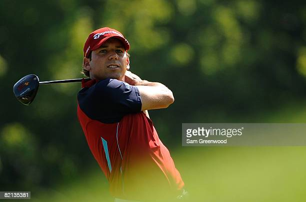 Sergio Garcia of Spain hits a shot during the first round of the WGC-Bridgestone Invitational at Firestone Country Club South Course on July 31, 2008...