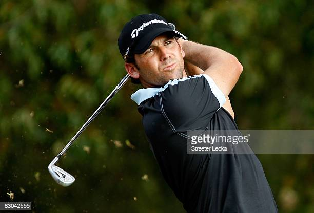 Sergio Garcia of Spain hits a shot on the 12th hole during the final round of THE TOUR Championship presented by CocaCola at East Lake Golf Club on...