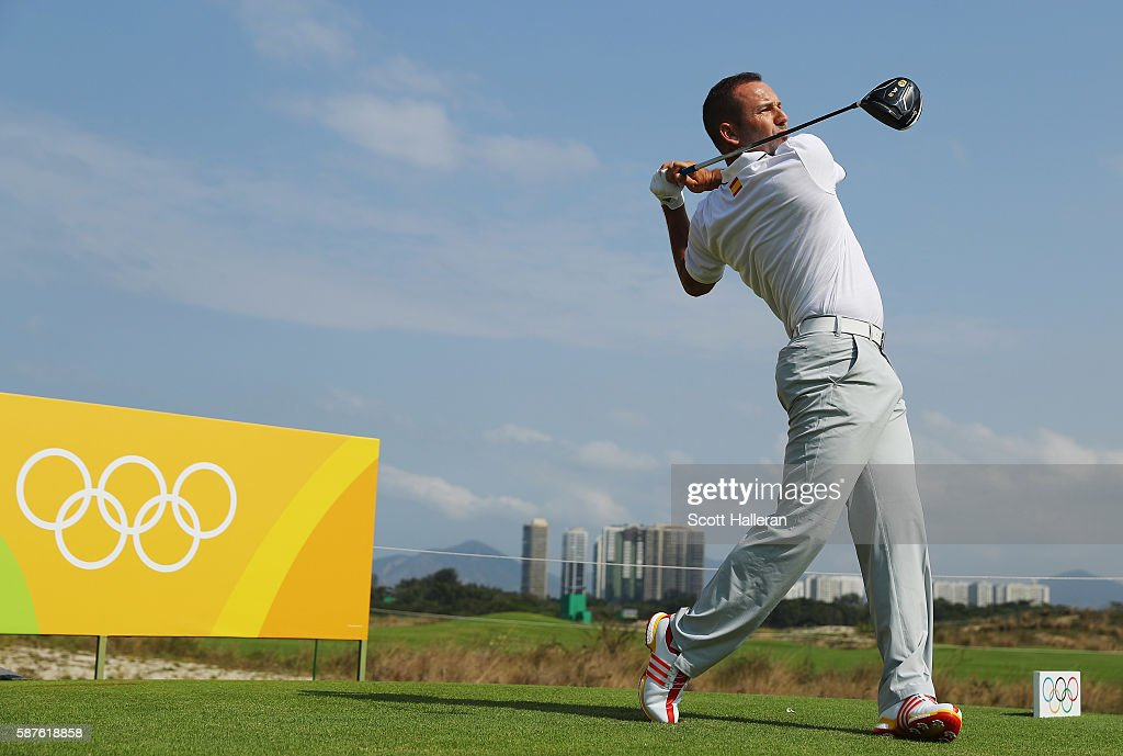 Sergio Garcia of Spain hits a tee shot during a practice round on Day 4 of the Rio 2016 Olympic Games at Olympic Golf Course on August 9, 2016 in Rio de Janeiro, Brazil.