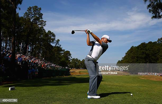 Sergio Garcia of Spain hits a tee shot during a practice round prior to the start of the 114th US Open at Pinehurst Resort Country Club Course No 2...