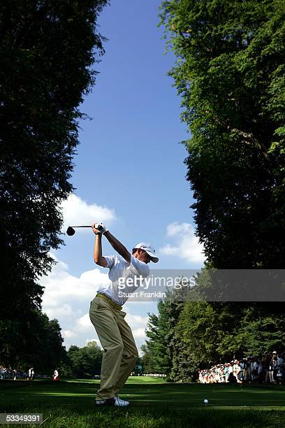 Sergio Garcia of Spain hits a tee shot during the third practice round of the 2005 PGA Championship at Baltusrol Golf Club on August 10, 2005 in...