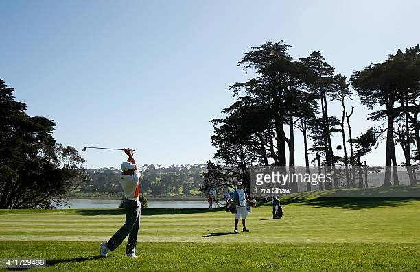 Sergio Garcia of Spain hits an approach shot on the 10th hole during round two of the World Golf Championship Cadillac Match Play at TPC Harding Park...