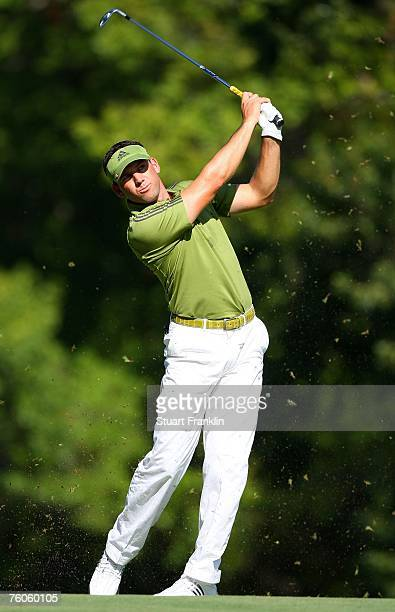 Sergio Garcia of Spain hits his approach shot on the third hole during the third round of the 89th PGA Championship at the Southern Hills Country...