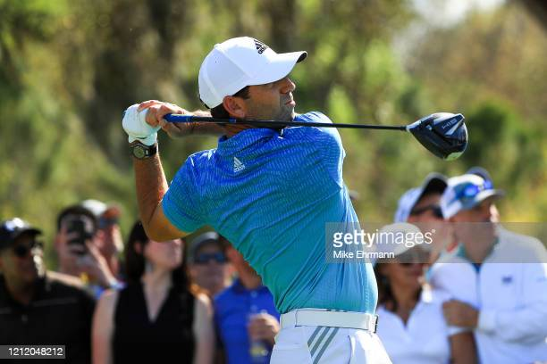 Sergio Garcia of Spain hits his drive on the ninth hole during the first round of The PLAYERS Championship on The Stadium Course at TPC Sawgrass on...