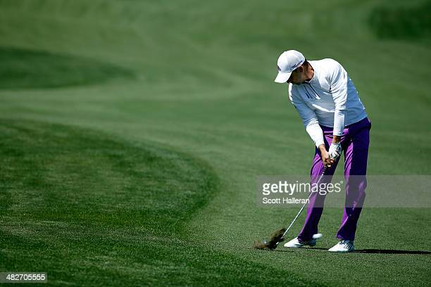 Sergio Garcia of Spain hits his second shot from the fairway on the fifth hole during round two of the Shell Houston Open at the Golf Club of Houston...